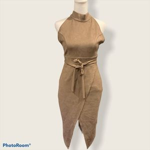 Nude Brown Halter Fitted Dress- Size Small